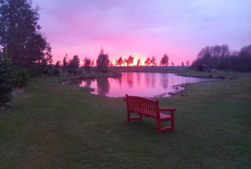 Fishing lake at sunset, Pinetrees Leisure Park